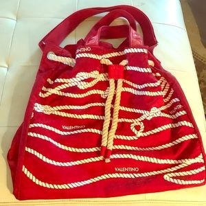 Valentino Nautical Nylon Large Red Tote Purse